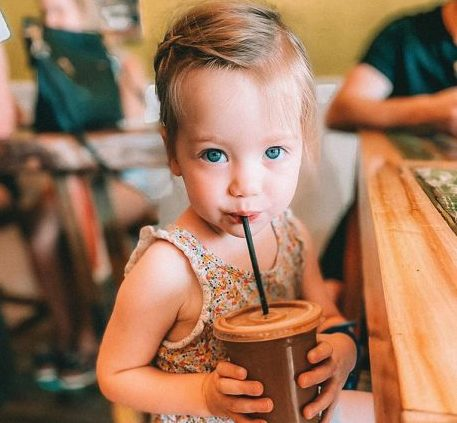 Cute baby at island smoothie in Corolla NC